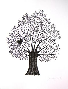 PRINT of Original Ink Drawing Illustration Tree Branch by mikaart, $14.99