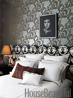 Boho-chic bedroom in the 2012 Designer Visions Apartment. Design: Rockwell Group. housebeautiful.com. #bedroom #boho_chic #wallpaper #headboard