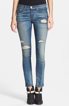 rag & bone/JEAN Stretch Skinny Jeans (Crochet Lace) available at #Nordstrom