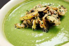 crema de brocoli con champiñones