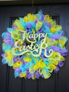Deco Poly Mesh Spring Easter Door Wreath