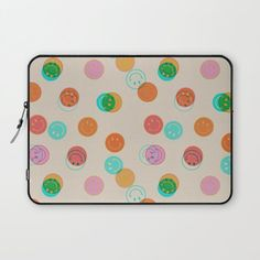 Cute smiley pattern laptop sleeve #ad