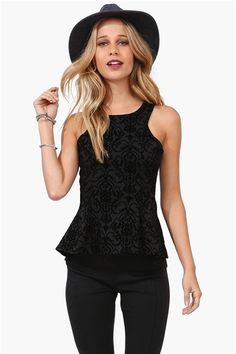 Velvet Peplum Top in Black/ the whole outfit tho