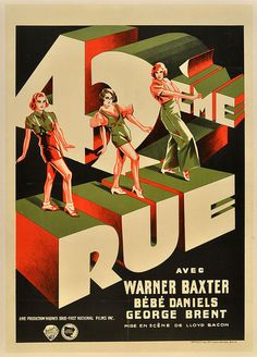 """This Art Deco Belgium poster of the seminal 1933 Warner Bros. musical """"42nd Street,"""" which featured Busby Berkeley's surreal dance numbers, shines the spotlight on the dancers."""