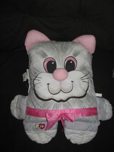 $100.99 Vtg Pound Purries Pillow People 80's Grey Pink Cat