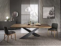 - Table à manger rectangulaire en bois LIVING – Graphite & Walnut Rectangular wooden dining table LIVING – Graphite & Walnut - Dinning Table Design, Wooden Dining Tables, Table And Chairs, Dining Room Table Legs, Metal Base Dining Table, Walnut Dining Table, Table Furniture, Furniture Design, Esstisch Design