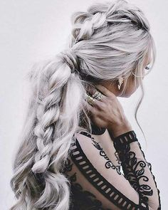 Trendy Fall Hair Colors: Your Best Autumn Hair Color Guide Woman with elaborate braid and silver hair Braided Hairstyles For Wedding, Long Hairstyles, Pretty Hairstyles, Hairstyle Ideas, Style Hairstyle, Ladies Hairstyles, Bridal Hairstyles, Updo Hairstyle, Everyday Hairstyles