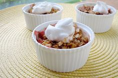 Light Rhubarb Strawberry Crisp | Snack Girl I made this tonight--very easy to make and it is a perfect summer dessert/breakfast dish.  Can easily be made into a vegan recipe if you wish.