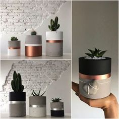 Beautiful little concrete ready for your new home. Beautiful little concrete ready for your new home. Cement Art, Concrete Crafts, Diy Concrete Planters, Diy Planters, Diy Home Crafts, Diy Arts And Crafts, Diy Para A Casa, Painted Pots, Succulents Diy