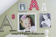 Monogram photo wall - kid room decor toddler-girl-s-room