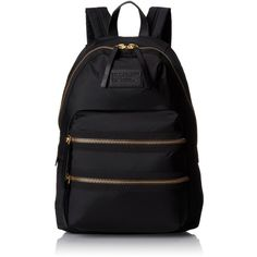 Marc by Marc Jacobs Domo Arigato Packrat Backpack ($128) ❤ liked on Polyvore featuring bags, backpacks, leather backpack, leather top handle bag, logo bags, leather bags y top handle bag