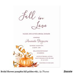 Shop Bridal Shower pumpkin fall golden white invitation Postcard created by Thunes. Rustic Bridal Shower Invitations, Elegant Bridal Shower, Bridal Shower Party, Bridal Showers, Christmas Card Holders, Fall Pumpkins, Postcard Size, Paper Texture, Rustic Wedding