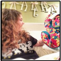 She loved her sprinkled S pillow; stop by the store to get your very own letter pillow! Visit www.FrankiesonthePark.com or stop by our Chicago or Santa Monica stores!