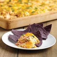 Chipotle Chicken Nacho Dip -The Pampered Chef® // The Large Bar Pan is the most amazing stone product that can cook many different types of recipes. I definitely love having this in my kitchen! Nacho Dip, Chicken Nachos, Chipotle Chicken, Chipotle Dip, Chicken Fajitas, Cream Cheese Chicken, Cheesy Chicken, Cooked Chicken, Shredded Chicken