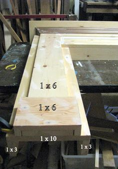 DIY faux mantle - more instructions   blue roof cabin: Mantel Made From Pine Boards
