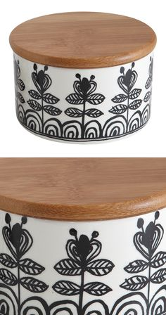 Give your kitchen a Danish-inspired accent. This sleek ceramic jar features a black and white floral motif and an earthy bamboo lid. It's a simple but stylish storage solution that's as timeless as it ...  Find the Agnete Jar, as seen in the End of Summer Clearance: Kitchen Collection at http://dotandbo.com/collections/end-of-summer-clearance-kitchen?utm_source=pinterest&utm_medium=organic&db_sku=128872