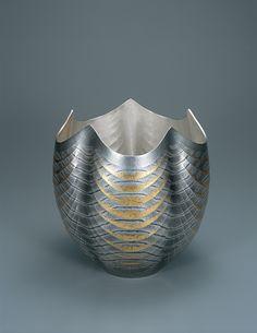 "銀打出花器 濳龍 Silver vase, ""Underwater Dragon"" OSUMI Yukie Kokubunnji City, Tokyo  銀、鍛造、彫金 silver, hammering, inlaid work, 2009  from our exhibit: Contemporary Kōgei Styles in Japan"