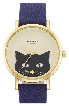 kate spade new york 'novelty metro' cat dial leather strap watch, 35mm available at #Nordstrom