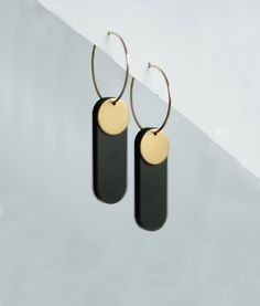 Handmade dangly brass laser cut acrylic earrings - long black jewelry - black gold dangle earrings - statement jewelry - gift box included