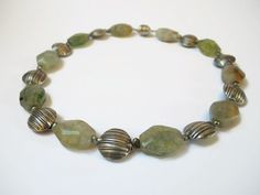 light green gemstone beaded choker necklace of agate, potatopearls and Thai silver, finished with a magnetic clasp.