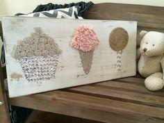 wood sign-   wood sign with textured cupcake, ice cream and lollipop - shabby chic decor - Nursery decor - girl's room decor