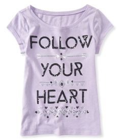 "Sweet style is def in your destiny -- you found our Follow Your Heart Graphic T and there's no turning back! Sweet style is def in your destiny; this fab top's cool ""Follow Your Heart"" message is accented with shimmery sequins, glitter and metallic foil for a look you'll love.<br><br>Tag free label.<br>Relaxed fit. Approx. length (10): 20""<br>Style: 2458. Imported.<br><br>60% cotton, 40% polyester.<br>Machine wash/dry."