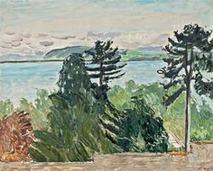 """Hans Berger (Swiss, Sicht auf den Mont-Vully mit Neuenburgersee [View of Mont Vully with Lake Neuchâtel]. Oil on canvas, 65 x 81 cm. Power Boats, Oil On Canvas, Den, Lakes, Painting, Switzerland, Landscapes, Kunst, Paisajes"