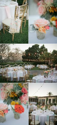 Peach and Mint wedding - flowers - tables - gold chairs  Troy Grover Photographers
