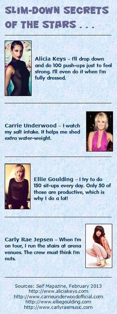 Here are four slim-down secrets from the stars, featuring singers Alicia Keys, Carrie Underwood, Ellie Goulding, and Carly Rae Jepsen (from the February, 2013 issue of Self Magazine). #slimmer #secrets