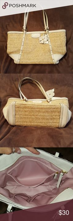 """Coach bag Creamy white colored and straw I have loved this bag...a lot! 12"""" x 9"""" x 4 1/2"""" Used condition Coach Bags Satchels"""