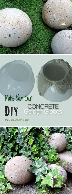 Unbelievable DIY Concrete Garden Globes – Make your own concrete garden globes using old glass light shades! The post DIY Concrete Garden Globes – Make your own concrete garden globes using old glas… appeared first on Home Decor Designs Trends . Concrete Crafts, Concrete Projects, Concrete Art, Concrete Leaves, Concrete Garden Ornaments, Diy Concrete Planters, Concrete Sculpture, Concrete Forms, Outdoor Crafts