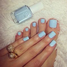 "Pale Blue Nails (Essie ""Borrowed and Blue"", ""Buy Me An Oasis"", or Zoya ""Blu"") Hair And Nails, My Nails, Blue Toe Nails, Pastel Blue Nails, Mint Candy Apples, Apple Candy, Manicure Y Pedicure, Mani Pedi, Long Nails"