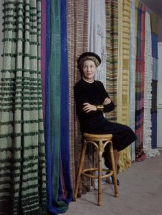 News Photo: American textile innovator and designer Dorothy Liebes sits…