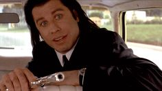 """The movie """"Pulp Fiction"""", directed by Quentin Tarantino. Seen here, Quentin Tarantino as Jimmie. Travolta Gif, John Travolta, Pulp Fiction, Quentin Tarantino, Funny Instagram Posts, Marvin, Celebrity Faces, Film School, Director"""