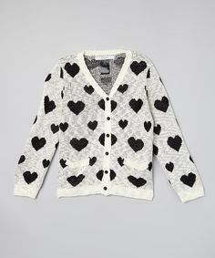 Look what I found on #zulily! Black & White Heart Cardigan - Girls #zulilyfinds