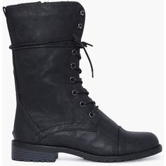 Lug Combat Boots ($25) ❤ liked on Polyvore featuring shoes, boots, black, faux leather boots, black army boots, lace up boots, military lace up boots and army boots