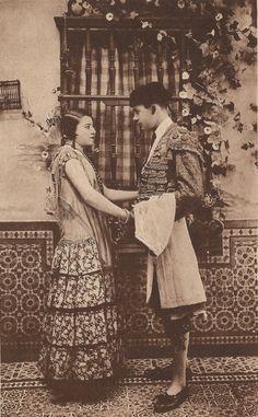 The Vintage Prophecy Postcards… Spanish Andalusian Romance Torero Bullfighter Flirty Flamenco Dancer Moorish Spain Sevilla Granada (RARE) Vintage Photographs, Vintage Photos, Granada Spain, Moorish, Vintage Postcards, Wedding Designs, 1920s, Spanish, Dancer