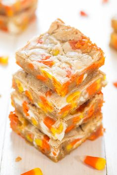 Get your sweet tooth ready—soft and chewy candy corn pairs perfectly with white chocolate in these moist blondes.
