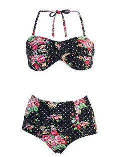 Rose & Black Floral High-Waist Bikini -   Marina West