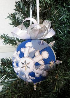 Snowflake Kimekomi Christmas Ornament by OrnamentDesigns on Etsy
