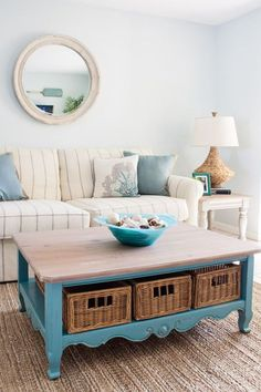 Cozy Florida Beach Condo Living Room Design with Neutrals & Blues. Shop the Look of this Beige and Blue Living Room with Natural Materials that say Sandy Feet Welcome. Beach Condo Living Room Design featured on Beach Bliss Designs. Cottage Style Living Room, Condo Living Room, Beach Living Room, Blue Living Room Decor, Cottage Style Decor, Beach Cottage Style, Coastal Living Rooms, Living Room Designs, Coastal Style