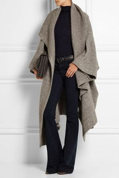Just a pretty style | Latest fashion trends: Designer fashion | Donna Karan grey fold cardigan and flared pants #FashionTrendsDesign