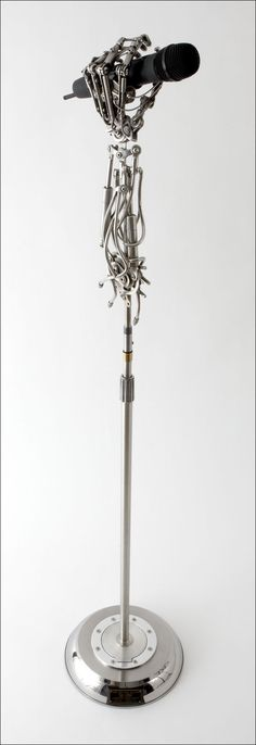 CUSTOM BIOMECHANICAL MICROPHONE STAND CREATED FOR ADAM GONTIER OF THREE DAYS GRACE BY CHRISTOPHER CONTE