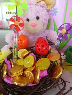 Bunny nest with gold coins Gold Coins, Nest, Bunny, Gift Wrapping, Party, Kids, Nest Box, Gift Wrapping Paper, Young Children