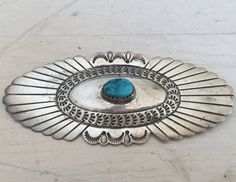 Harris Joe Sterling Concho Turquoise Pin by SionainnRiverVintage
