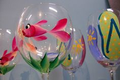 Cool painted wine glasses.
