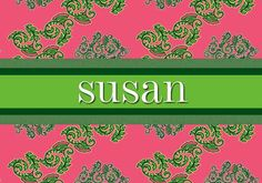Pink and green personalized luggage tag
