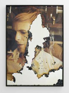 Douglas Gordon. Self-portrait of you + me (David Bowie 03), 2010 Burnt photograph, mirror 55.63 x 39.57 x 1.97 in (141.3 x 100.5 x 5cm). Yvon Lambert gallery