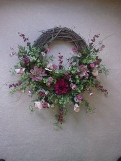 Image detail for -Burgandy, Mauve and Cream Silk Flower Grapevine Wreath