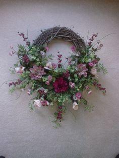Image detail for -Burgandy, Mauve and Cream Silk Flower Grapevine Wreath